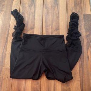 Mondor black high rise rushed leggings with mesh
